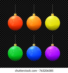 Christmas Vector Ball Set Isolated on Dark Background. Xmas Ball Toy Icons in Different Colors. Christmas Collection for Design. Cartoon Vector Illustration.