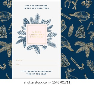 Christmas vector banner template. Xmas decorative sketch pattern background layout. Winter season wishes trendy square frame with Christmas Illustrations. December holiday greeting card blue design.