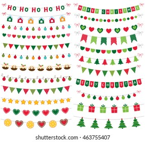Christmas vector banners, garlands and decoration set