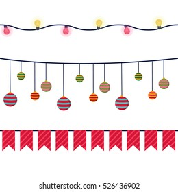 Christmas vector banners, garlands and decoration seamless set. For birthday, party, web
