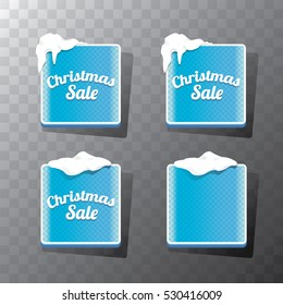 Christmas vector blue glossy glass buttons set with transparent shadow. web blue christmas sale buttons with snow, ice border and christmas text
