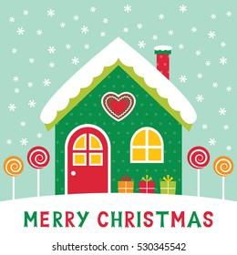 Christmas vector card with a cartoon winter house