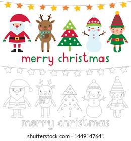 Christmas vector characters, colored and clear line versions