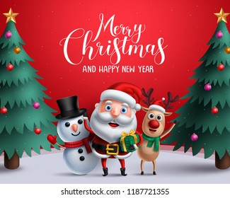 Christmas vector characters like santa claus, reindeer and snowman holding gift with merry christmas greeting and tree in a red background. Vector illustration.\n
