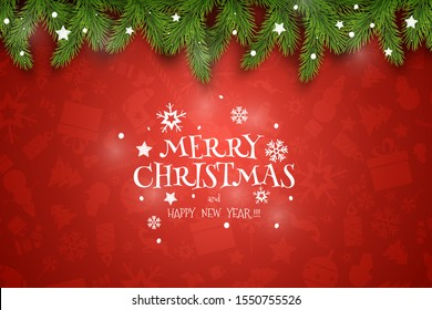 Christmas Vector Composition. Holiday Wishes on Red Background with Fir Branches. For Greeting Card, Poster and Banner.