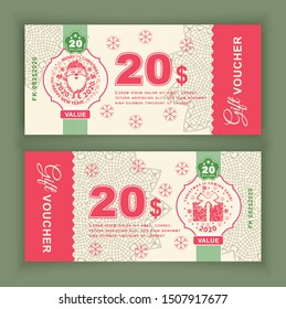 Christmas Vector coupon Voucher with Santa Claus and gift.Twenty dollars.