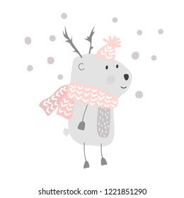 Christmas vector cute cartoon deer in hat and scarf illustration design. bambi animal vector. Merry Xmas greeting card