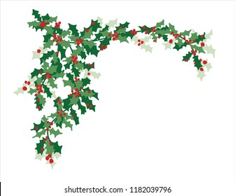 Christmas vector design element of green holly leaves and red berries in pretty  corner border illustration