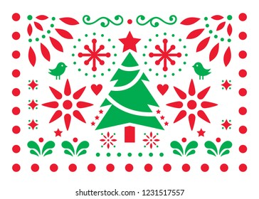 Christmas vector design - Mexican folk art pattern, Xmas red and green greeting card with Christmas tree, snowflakes and geometric shapes.  Festive decor inspired by traditional ornaments from Mexico