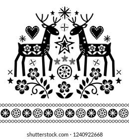 Christmas vector design with reindeer, flowers, Scandinavian folk art pattern in black on white background - Merry Christmas decoration. Cute Scandinavian style retro greeting card illustration