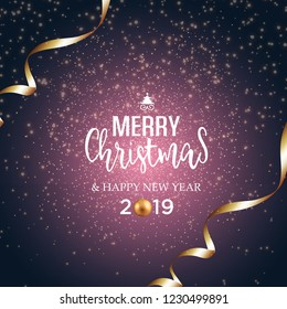 Christmas vector festive background  greeting card with text and golden ribbons