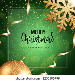 Christmas vector festive green background greeting card with text, event ball, snowflake and golden ribbons