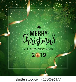 Christmas vector festive green background greeting card with text and golden ribbons