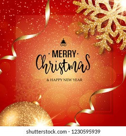 Christmas vector festive red background greeting card with text, event ball, snowflake and golden ribbons