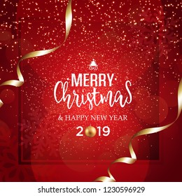 Christmas vector festive red background greeting card with text and golden ribbons