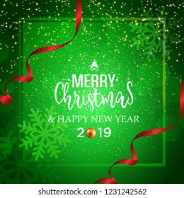 Christmas vector festive red background greeting card with text and red ribbons