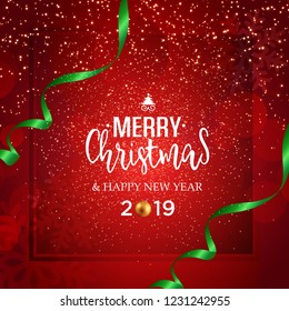 Christmas vector festive red background greeting card with text and ribbons