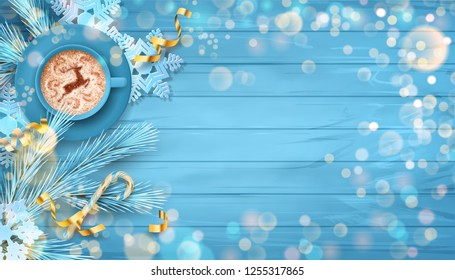 Christmas vector festive top view background with fir twigs, Christmas gold ornaments on blue wooden table