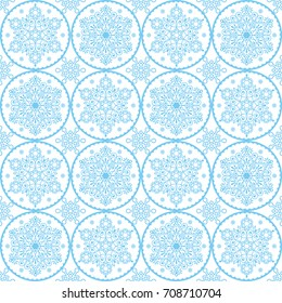 Christmas vector folk art pattern - blue snowflakes seamless design, Scandinavian style Xmas wallpaper, wrapping paper or textile