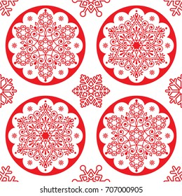 Christmas vector folk pattern - red snowflake mandala seamless design, Scandinavian style Xmas wallpaper, wrapping paper or textile   Repetitive snowflakes on white background, Swedish decoration