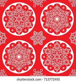 Christmas vector folk pattern - white snowflake mandala seamless design on red, Scandinavian style Xmas wallpaper, wrapping paper or textile