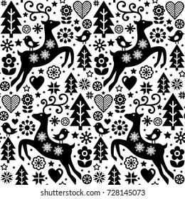 Christmas vector folk style seamless pattern, Scandinavian design in black and white, reindeer, birds and flowers decoration, wallpaper