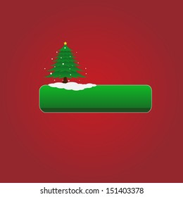 Christmas vector green button with tree