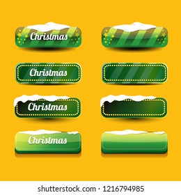 Christmas vector green glossy buttons set isolated on orange background. web green christmas sale buttons with snow, ice border