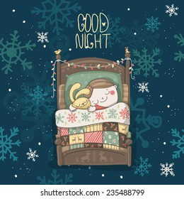Christmas vector greeting card with message Good night and a boy, sleeping with rabbit
