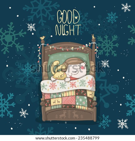 Christmas vector greeting card message good stock vector royalty christmas vector greeting card with message good night and a boy sleeping with rabbit m4hsunfo