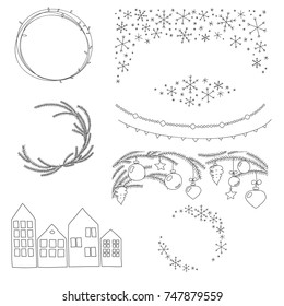 Christmas Vector Hand Drawn Borders and Wreaths Set. Cute scandinavian styled graphic elements. Coniferous, snowflake wreath and border decorated with tree toys, garlands and houses border.