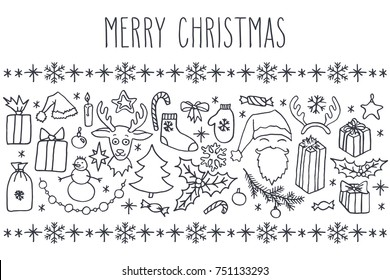 Christmas vector hand drawn doodle card with greetings in black over white background. Santa, tree, reindeer, snowman, snowflakes, gifts, decorations, holly, candle, stars.