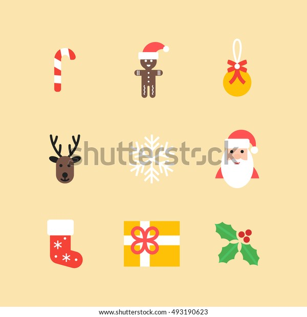 Christmas vector icons collection. Set of new year isolated symbols in flat style. Vector christmas elements for your design.