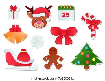 Christmas vector icons New Year decoration illustration of Xmas Christians festive ornament symbols.