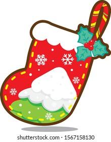 Christmas vector illustration cartoon cute  Snowy sock