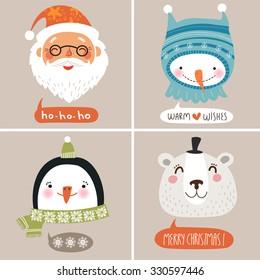 Christmas  vector illustration. Cute face