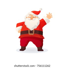 Christmas vector illustration. Funny cartoon Santa Claus with red hat waving his hand and greeting. Great For Christmas and New Year cards, posters, gift tags and labels, website decoration