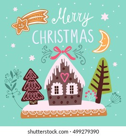 Christmas vector illustration with house, trees, comet and moon.