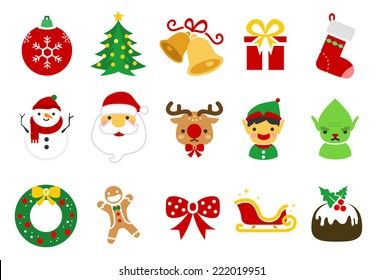 Christmas vector illustration icon set. Included the icons as reindeer, elf, cartoon, Santa Claus, snowman, gift and more.