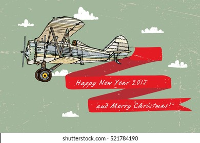 Christmas vector illustration of an old airplane on a background of sky and clouds.