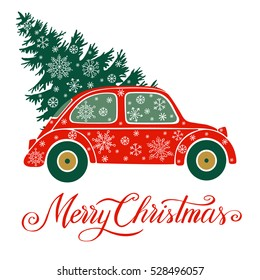 Christmas vector illustration with christmas tree, car and snow. Background for greeting card, invitation.