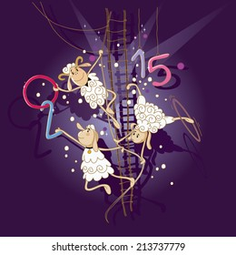 Christmas vector illustration, which shows a performance of lambs in a circus acrobat.