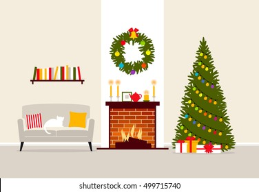 Christmas vector interior of the living room with fireplace and christmas tree