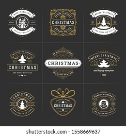 Christmas vector ornate labels and badges set, happy new year and winter holidays wishes typography for greeting cards, gifts and banners, ornament decoration design elements. Vector illustration.