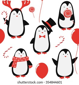 Christmas vector pattern. Seamless background with penguins