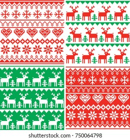 Christmas vector patttern set, Winter seamless design collection, ugly Xmas jumper style  Xmas repetitive background set in red and blue, reindeer and snowflakes decoration