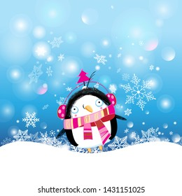 Christmas vector postcard with a funny penguin on a snowy background with snowflakes