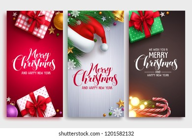 Christmas vector poster design set with colorful elements and merry christmas greeting text in an empty space. Vector illustration.