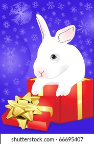 Christmas vector of rabbit sitting in the red giftbox