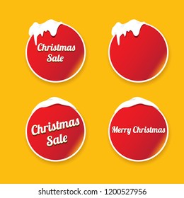 Christmas vector red glossy buttons set isolated on orange background. web red christmas sale buttons with snow, ice border